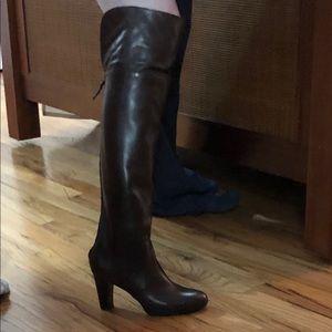 Ralph Lauren Brown Leather Knee/Over Knee Boots